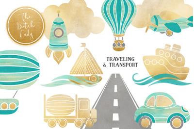 Transportation & Travel Clipart Set