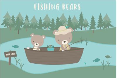 Fishing bears clipart
