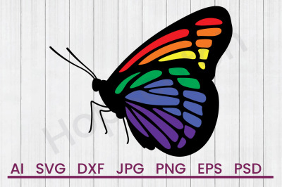 Rainbow Butterfly - SVG File, DXF File