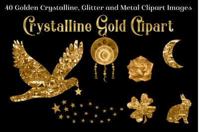 Crystalline Gold Clipart Set - 40 Golden Images