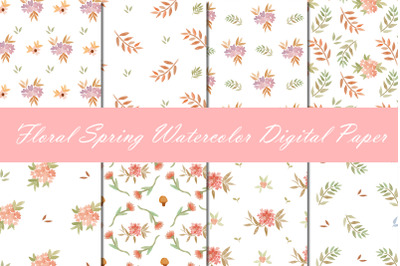 Watercolor Floral Spring Pattern with Digital Paper