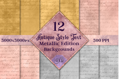 Antique Style Text Backgrounds Metallic Edition - 12 Images