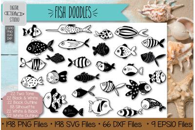 198 Hand Drawn Fish Clip Art   Tropical Fish Outline Illustration