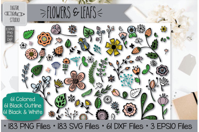 Flowers and Leafs Doodles Hand Drawn Illustrations Bundle
