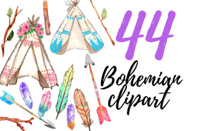 Large Watercolor Bohemian Clipart