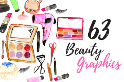 Large watercolor makeup clipart