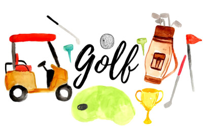 Watercolor golf clipart