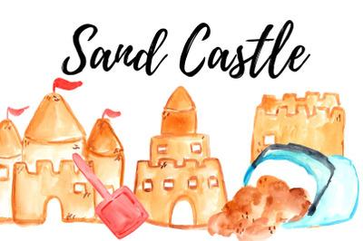 Watercolor Summer sand castle clipart