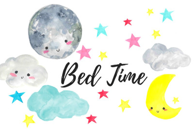 Watercolor Night Time Nursery Clipart