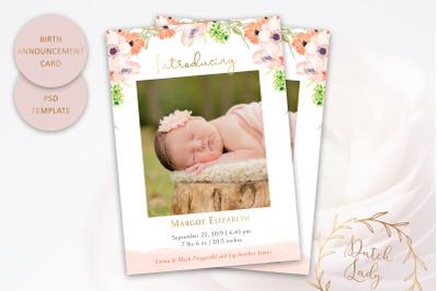 Birth Announcement Card Template #8
