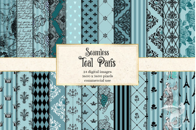Teal Paris Digital Paper