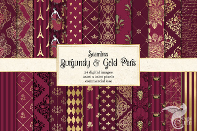 Burgundy and Gold Paris Digital Paper