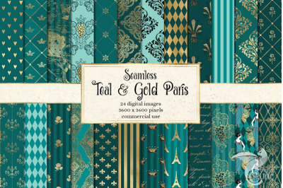 Teal and Gold Paris Digital Paper