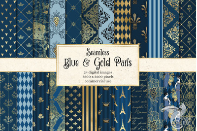 Blue and Gold Paris Digital Paper