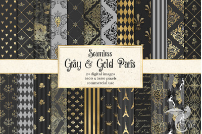 Gray and Gold Paris Patterns