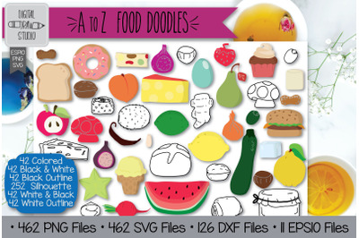 462 A to Z Food Clip art | Hand Drawn Fruit + Vegetable Outline Drawin