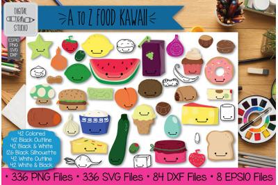 336 A to Z Kawaii Food Clip art | Hand Drawn Fruit + Vegetable Outline