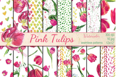 Watercolor Pink tulips seamless patterns