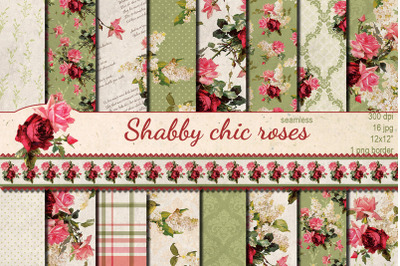 Shabby chic Pink Roses hand drawn seamless patterns