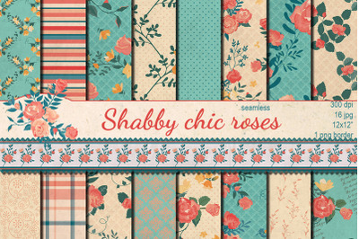 Shabby chic  Roses hand drawn seamless patterns