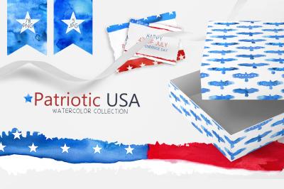 Patriotic USA Watercolor