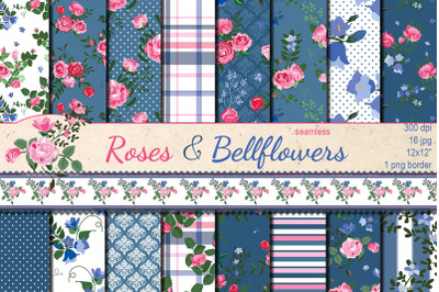 Roses and bellflowers seamless patterns