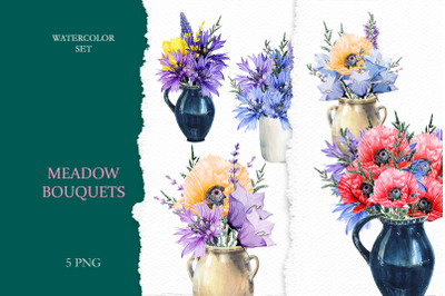Watercolor Meadow Flowers in Rustic Vases