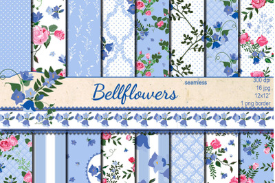 Bellflowers seamless patterns