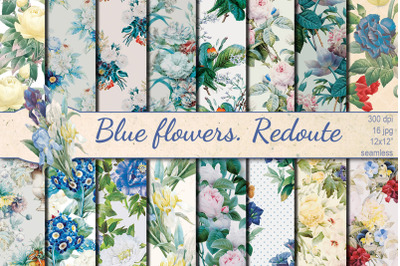 Blue Flowers Redoute seamless patterns