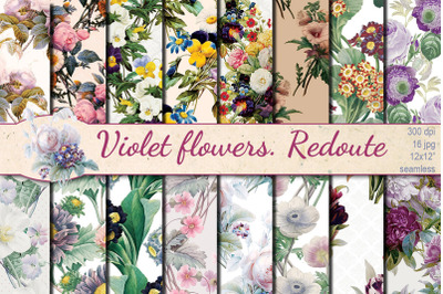Violet Flowers Redoute seamless patterns