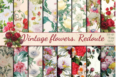 Vintage Flowers Redoute seamless patterns