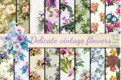 Delicate Vintage Flowers seamless patterns