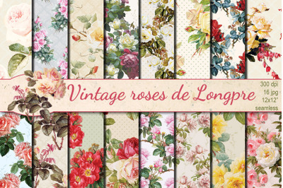 Vintage roses de Longpre seamless patterns