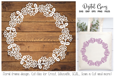 Floral monogram frame design