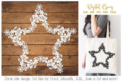 Floral star papercut design