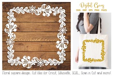 Flower square frame papercut design