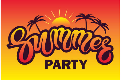 Summer party. Hand drawn lettering.