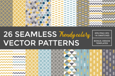 26 vector patterns Trendy Colors