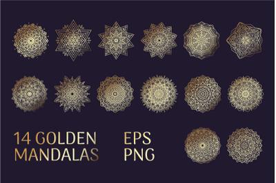 14 Golden Mandalas EPS and PNG