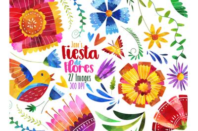 Watercolor Fiesta de Flores Clipart