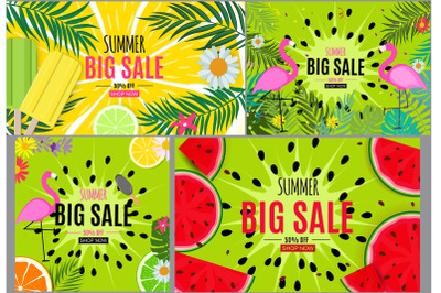 Collection of 4 Abstract Summer Sale Background with Flamingo and Palm