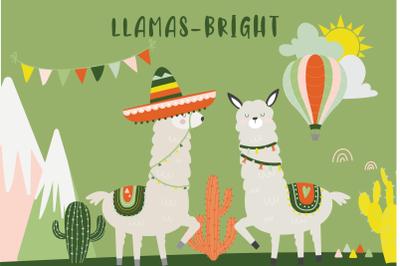 Llamas bright clipart