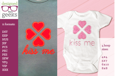 Kiss Me 4 Hearts Valentine's Day Duo | Applique Embroidery