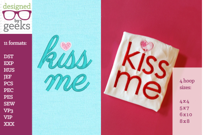 Kiss Me Heart Dot Valentine's Day Duo | Applique Embroidery