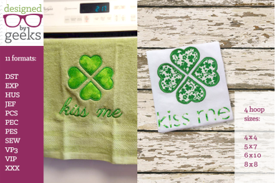 Kiss Me Large Heart Clover St. Patrick's Day Duo | Applique Embroidery