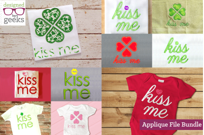Kiss Me Valentine's or St Patty's Bundle | Applique Embroidery