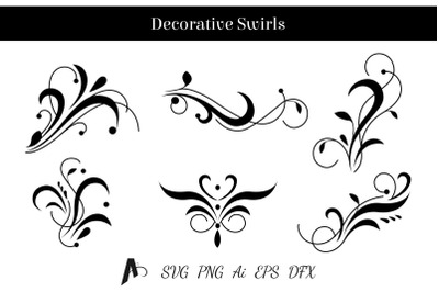 Decorative swirls design. Floral vector elements.