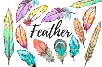 Watercolor Boho Feather clipart