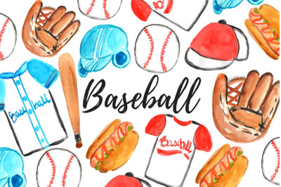 Watercolor Baseball Clipart