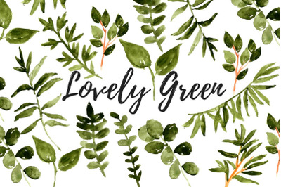 Watercolor floral greenery clipart